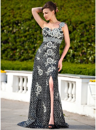 Empire One-Shoulder Sweep Train Sequined Mother of the Bride Dress With Beading Appliques Lace Split Front