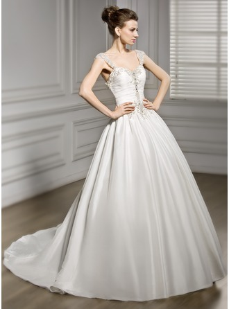 Ball-Gown Sweetheart Chapel Train Taffeta Wedding Dress With Ruffle Beading Sequins