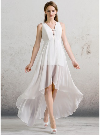 A-Line/Princess V-neck Asymmetrical Chiffon Wedding Dress
