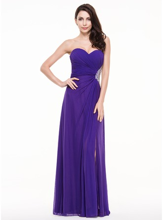 Sheath/Column Sweetheart Floor-Length Jersey Prom Dress With Ruffle Beading Sequins Split Front