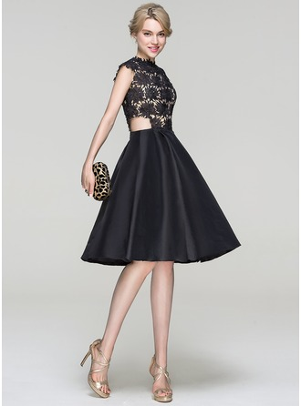 A-Line/Princess Scoop Neck Knee-Length Taffeta Cocktail Dress