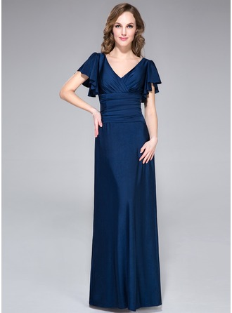 A-Line/Princess V-neck Floor-Length Jersey Evening Dress With Cascading Ruffles