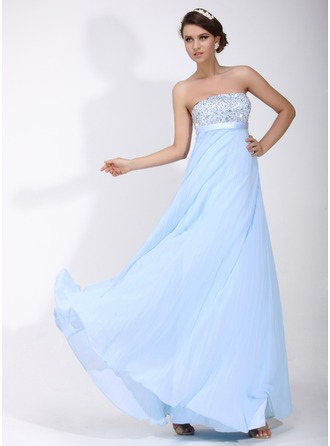 Empire Strapless Floor-Length Chiffon Holiday Dress With Ruffle Beading Sequins