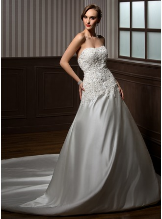 Ball-Gown Sweetheart Cathedral Train Satin Wedding Dress With Lace Beading