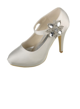 Women's Satin Stiletto Heel Closed Toe Platform Pumps With Rhinestone Crystal Velcro