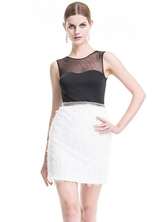 Sheath/Column Scoop Neck Short/Mini Feather Cocktail Dress With Beading Sequins