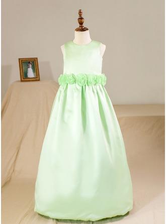 Ball Gown Floor-length Flower Girl Dress - Satin Sleeveless Scoop Neck With Flower(s) (Petticoat NOT included)