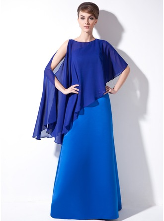 Sheath/Column One-Shoulder Floor-Length Satin Mother of the Bride Dress