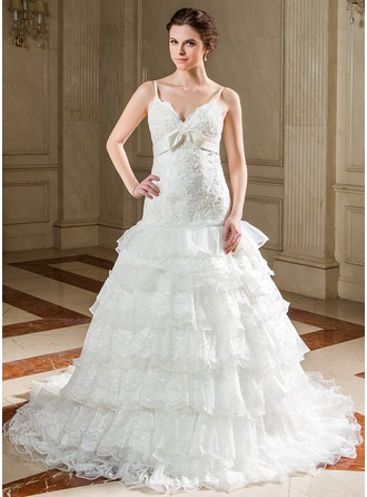 A-Line/Princess Sweetheart Chapel Train Organza Satin Wedding Dress With Lace Bow(s) Cascading Ruffles