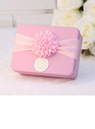Cuboïd Boîte cadeau en fer avec Fleurs