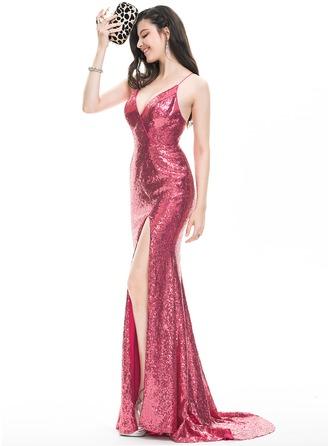Vestido tubo Escote en V Barrer/Cepillo tren Con lentejuelas Vestido de baile de promoción con Apertura frontal