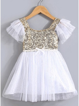 A-Line/Princess Cotton Blends Flower Girl Dresses/Pageant Dresses/Baby Dresses With Sequins