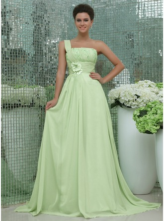 A-Line/Princess One-Shoulder Chapel Train Chiffon Holiday Dress With Ruffle Beading Appliques Lace Flower(s)