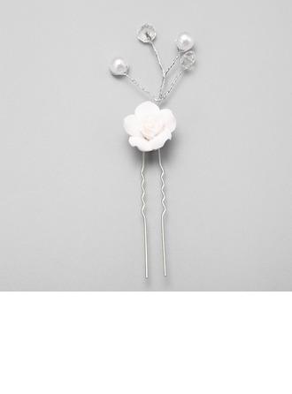 Elegante Aleación/Perlas de imitación/Cerámico Horquillas (Juego de 3)