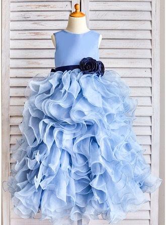 Corte de baile Hasta el suelo Vestidos de Niña Florista - Organdí Sin mangas Escote redondo con Fajas/Flores