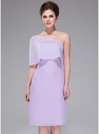 Sheath/Column One-Shoulder Knee-Length Chiffon Bridesmaid Dress With Beading Cascading Ruffles