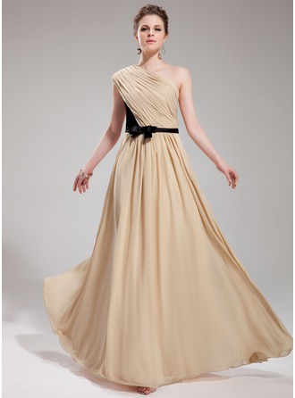A-Line/Princess One-Shoulder Floor-Length Chiffon Evening Dress With Ruffle Sash Bow(s)