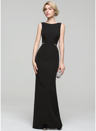 Sheath/Column Scoop Neck Floor-Length Satin Evening Dress
