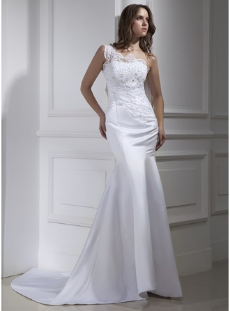 Trumpet/Mermaid One-Shoulder Court Train Satin Wedding Dress With Lace Beading