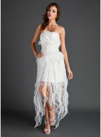 A-Line/Princess Strapless Asymmetrical Organza Lace Holiday Dress With Beading