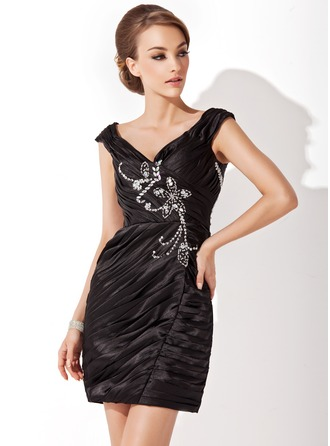 Sheath/Column Off-the-Shoulder Short/Mini Charmeuse Cocktail Dress With Ruffle Beading Sequins
