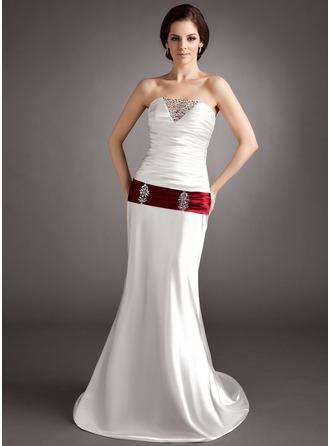 A-Line/Princess Sweetheart Sweep Train Charmeuse Wedding Dress With Ruffle Sash Beading Sequins