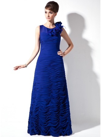 Sheath/Column Scoop Neck Sweep Train Chiffon Mother of the Bride Dress With Ruffle Feather