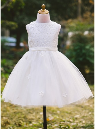 Tulle/Satin With Imitation Pearls Dresses