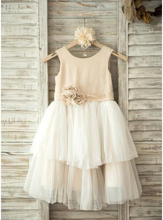 Forme Princesse Longueur genou Robes à Fleurs pour Filles - Tulle/Lin Sans manches Col rond avec Fleur(s)
