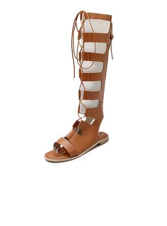 Femmes Similicuir Talon plat Sandales Chaussures plates Escarpins Bottes hautes avec Zip chaussures