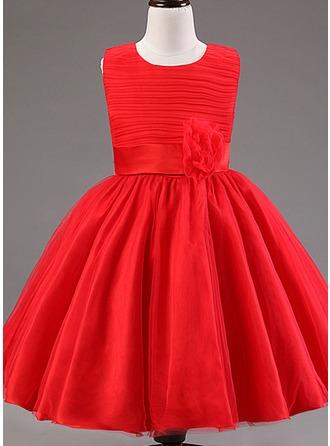 Ball Gown Knee-length Flower Girl Dress - Cotton Blends Sleeveless Scoop Neck With Ruffles/Flower(s)