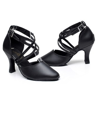 Women's Real Leather Heels Sandals Latin With Hollow-out Dance Shoes