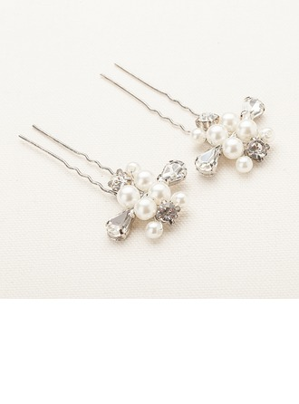 Fashion Alloy/Imitation Pearls Hairpins(Set of 2)