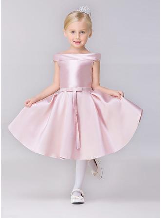 Forme Princesse Court/Mini Robes à Fleurs pour Filles - Satiné Manches courtes Bateau avec Ceintures
