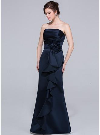 Sheath/Column Strapless Floor-Length Satin Bridesmaid Dress With Flower(s) Cascading Ruffles