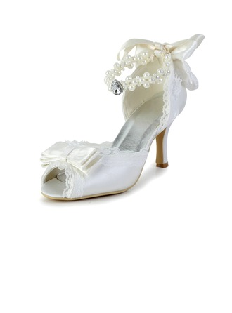 Women's Lace Satin Spool Heel Peep Toe Sandals With Bowknot Imitation Pearl Rhinestone Ribbon Tie
