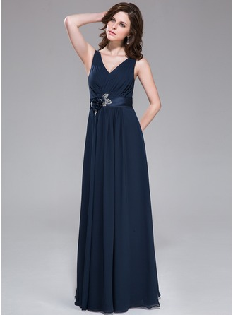 A-Line/Princess V-neck Floor-Length Chiffon Charmeuse Evening Dress With Ruffle Beading Sequins
