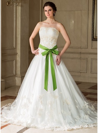 A-Line/Princess Strapless Cathedral Train Tulle Charmeuse Wedding Dress With Embroidery Ruffle Sash Beading Sequins Bow(s)
