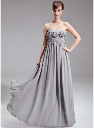 Empire Floor-Length Chiffon Chiffon Maternity Bridesmaid Dress With Flower(s)
