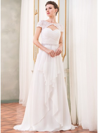 A-Line/Princess Scoop Neck Sweep Train Chiffon Lace Wedding Dress With Beading Sequins Cascading Ruffles