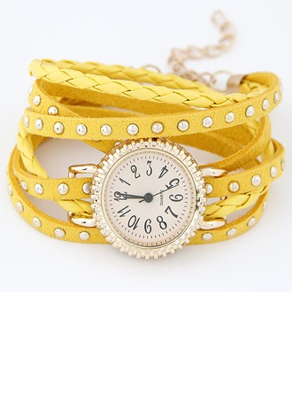 Unique Alloy Leatherette With Rhinestone Ladies' Watches