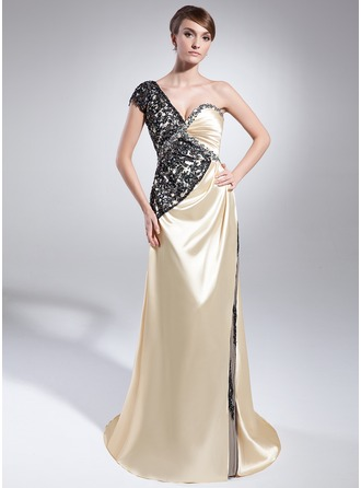 A-Line/Princess One-Shoulder Sweep Train Charmeuse Mother of the Bride Dress With Ruffle Beading Sequins