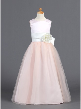 A-Line/Princess Scoop Neck Floor-Length Satin Tulle Flower Girl Dress With Ruffle Sash Flower(s) Bow(s)