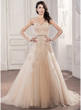 Trumpet/Mermaid Sweetheart Chapel Train Tulle Lace Wedding Dress With Beading Sequins