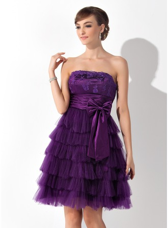 A-Line/Princess Strapless Knee-Length Tulle Cocktail Dress With Lace Bow(s) Cascading Ruffles Pleated