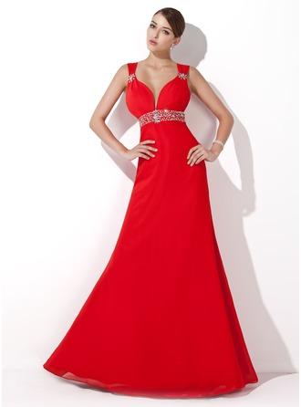A-Line/Princess Sweetheart Floor-Length Chiffon Evening Dress With Ruffle Beading Sequins
