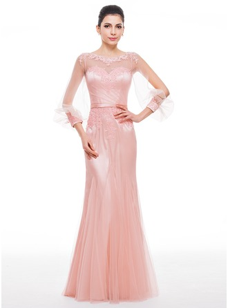 Trumpet/Mermaid Scoop Neck Floor-Length Tulle Charmeuse Evening Dress With Beading Appliques Lace Sequins