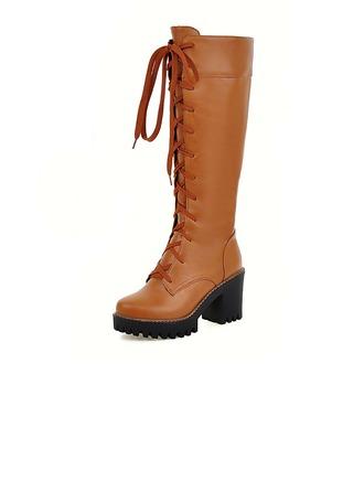 Femmes Similicuir Talon bottier Escarpins Plateforme Bout fermé Bottes Bottes hautes avec Dentelle chaussures
