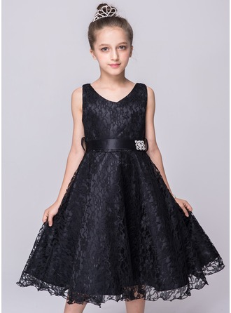 A-Line/Princess Knee-length Flower Girl Dress - Lace Sleeveless V-neck With Bow(s)/Rhinestone