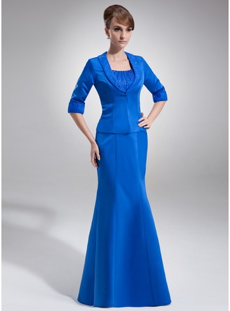 Empire Scoop Neck Floor-Length Organza Satin Mother of the Bride Dress With Ruffle Beading